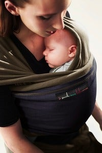 Image of Je Porte Mon Bebe Stretchy Wrap - Olive/Navy