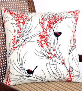 Image of Cushion Large 'Red-backed Wren & Wattle Cushion'