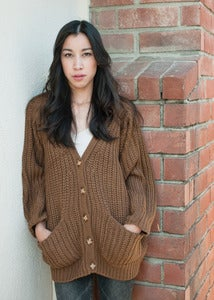 Image of Corset Back Camel Cardigan