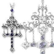 Image of Theban Castle's Hanging Cross - Swarovski Crystal Adorned Necklace