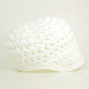 Image of White Newsboy Cap (Newborn - Adult)