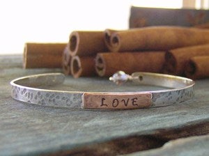 Image of Rustic simple cuff bracelet... hand stamped sterling silver personalized cuff