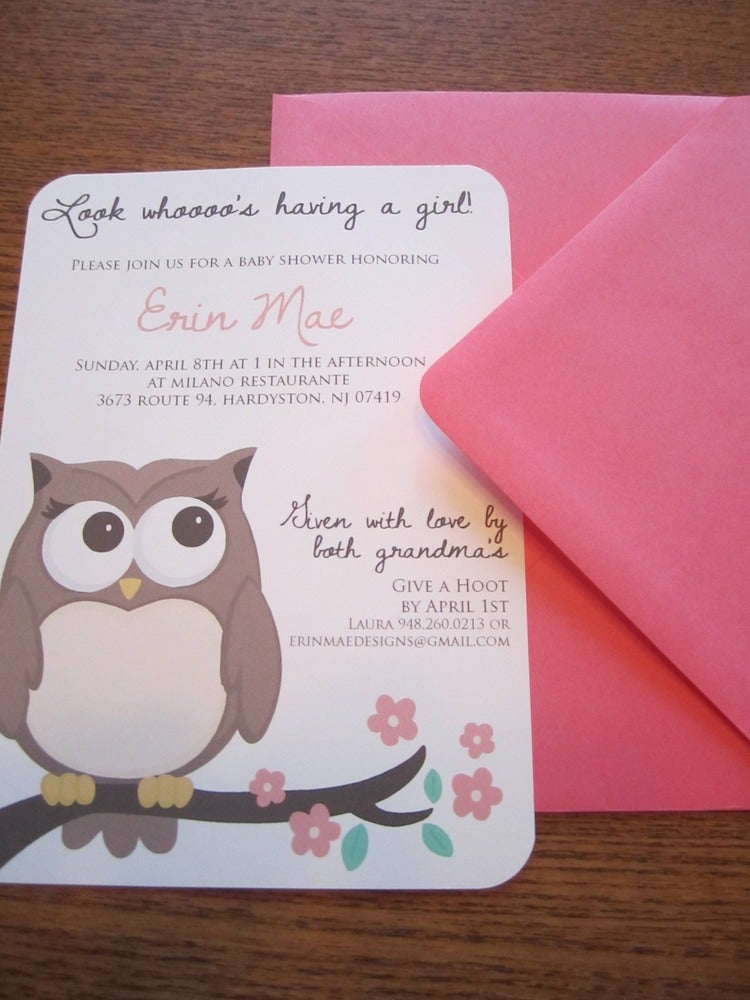 Little Owl Invites   Shower invitations, Nest and Owl
