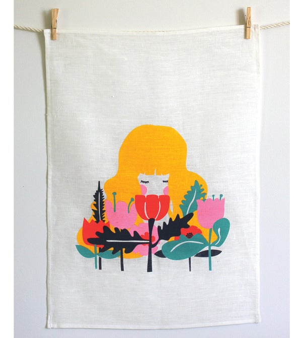 Image of Girl In Flowers Tea Towel