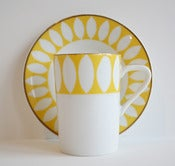 Image of Set of 2 Yellow & White Espresso Cups