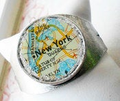 Image of New York Manhattan The Bronx Map Bracelet Cuff