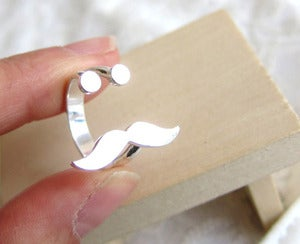 Image of Mr. Mustache Ring - Handmade Silver Ring