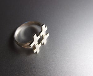 Image of Hash Number Sign Ring - Handmade Silver Ring
