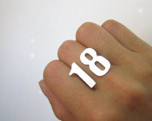Image of Custom Number Ring - Handmade Silver Ring