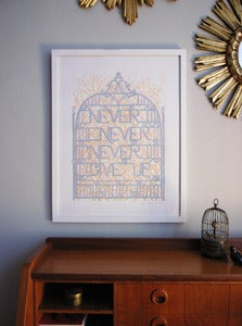 Image of Never Never Never Give Up.  2 colour handprinted, poster size.