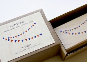 Image of SALE: Bunting Natural Rubber Stamp