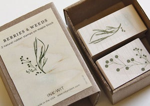 Image of SALE: Berries & Weeds Rubber Stamps