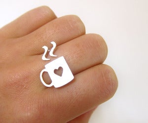 Image of Love Mug Silver Heart Ring - Handmade Silver Rings
