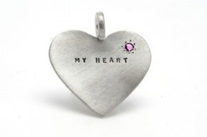 Image of Silver My Heart with ruby charm