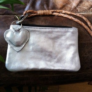 Image of Boho Leather Purse Bag - Silver &amp; Tan