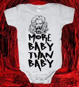"Image of ROB/WHITE ZOMBIE ""MORE BABY THAN BABY"" ONESIE ONE PIECE BODYSUIT"