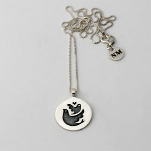 Image of Birds Token Necklace | Silver {FREE SHIPPING}