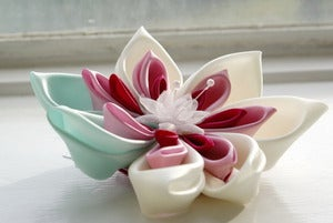 Image of Waterlily Kanzashi Flower Hairclip: Fascinator in Mint Green, Ivory, Pink and Cerise