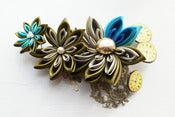 Image of Steampunk Kanzashi Fascinator in Burnt Gold and Turquoise Habotai Silk