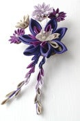 Image of Kanzashi Fascinator with Falls in Purple and Mauve Habotai Silk with Falls