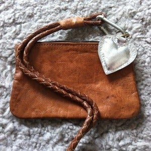 Image of Boho Leather Purse Bag - Cognac &amp; Silver