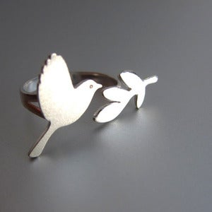 Image of Peace Bird Ring - Handmade Silver Ring 
