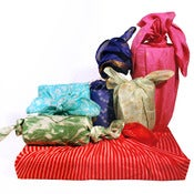Image of Vintage Sari Silk Furoshiki Gift Wrap Set, Assorted Sizes and Colors