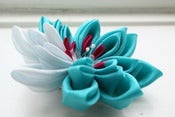Image of Waterlily Kanzashi Flower Fascinator in Aqua and Pale Blue Silk - Extra Large