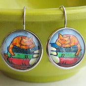 Image of Sleeping Orange Tabby Kitty Cat Book Stack Earrings