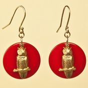 Image of Vintage Owl Charm Earrings on Red Celluloid Disc