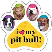 Image of &quot;I Love My Pit Bull&quot; Paw Car Magnet