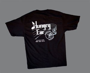 Image of Black short sleeve T-Shirt with original Hungry Ear Logo!