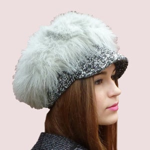 Image of Royal Guard Furry Cap in Grey Faux Fur and Tweed