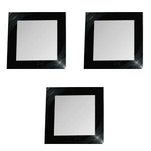 Image of Set of 3 Mirrors made with a recycled vinyl record. - Squares