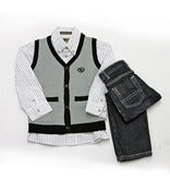 Image of L/S Button Up and Sweater Vest 3pc Toddler Set