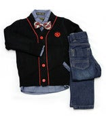 Image of Oxford Button Down Shirt with L/S Cardigan 4pc Toddler Set