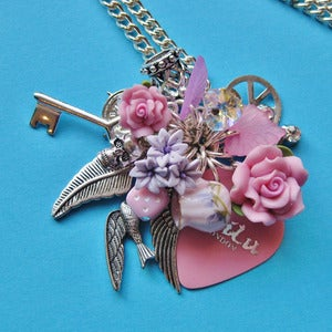 Image of Pink Wishes Silver Heart Plectrum Cluster Necklace