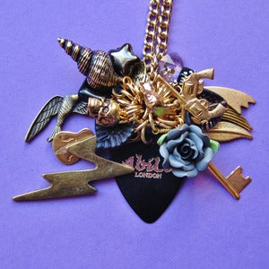 Image of Golden Shadow Black Plectrum Cluster Necklace