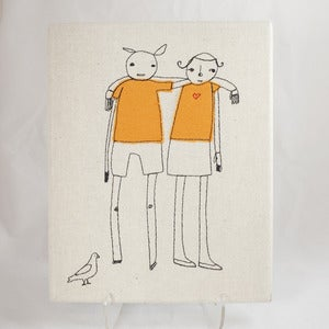 Image of Shelly Klein of k studio Embroidered Friends Wall Hanging