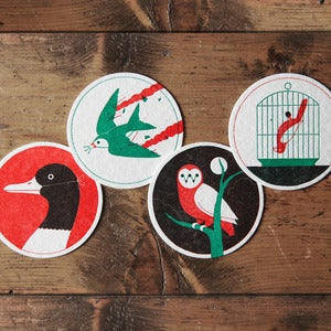 Image of Ornithology Letterpress Coasters