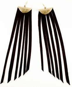 Image of Leather fringe earrings