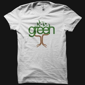 Image of Womens Green Tee - White