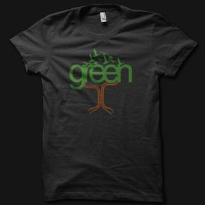 Image of Womens Green Tee - Black