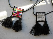 Image of Embroidered Tassel Scapular Pendant, Triangles Pattern