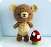Image of Amigurumi Crochet Little Bear and Mushroom