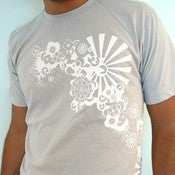 Image of Japanese Kimono Ninja silver Floral mens tshirt