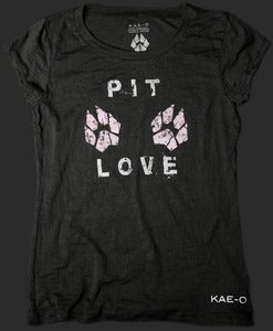 Pit Love Women's Burnout Tee - Black