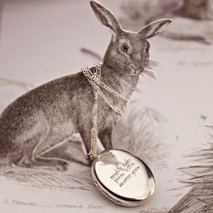 Image of 'mighty oaks...' engraved locket