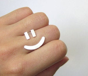 Image of =) Happy Face Ring - Handmade Silver Ring