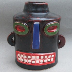 Image of Black Robot head vase